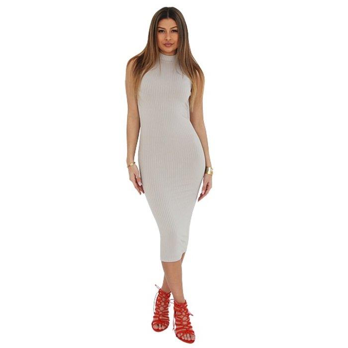 Jurk Long Striped Tube Dress Grey