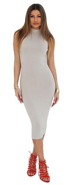 LA SISTERS Jurk Long Striped Tube Dress Grijs