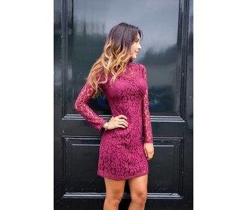 EIGHT PARIS Lace dress Bordeaux Rood