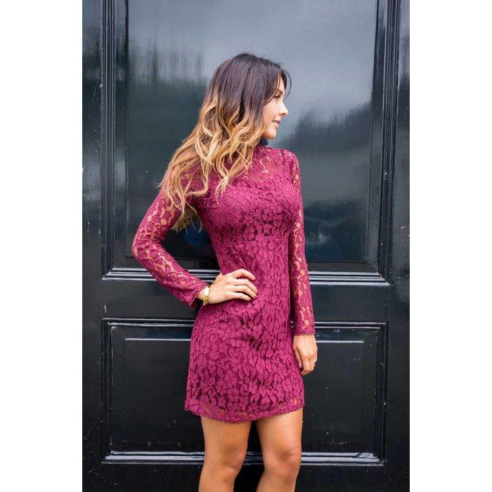 Lace dress Bordeaux Rood