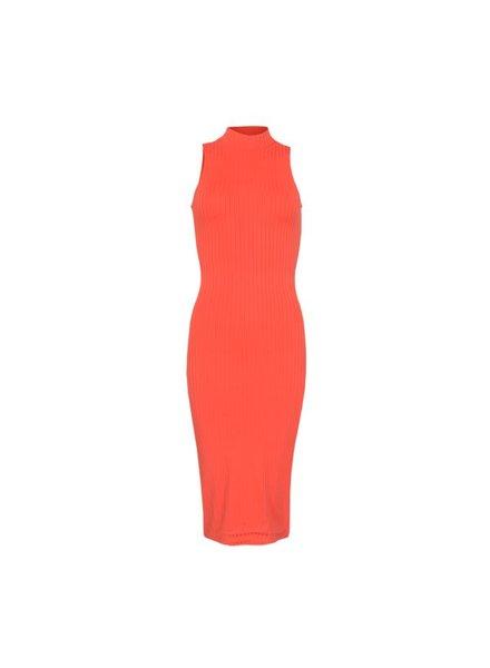 LA SISTERS Jurk Long Striped Tube Dress Coral
