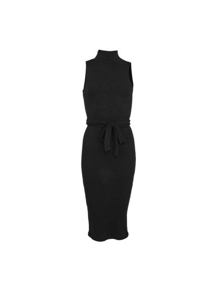 LA SISTERS Belted Ribbed Tube Dress Zwart