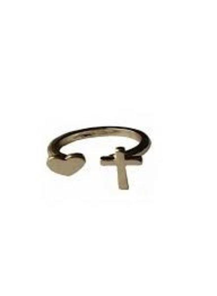 Fashion Mania Ring Cross Love Goud