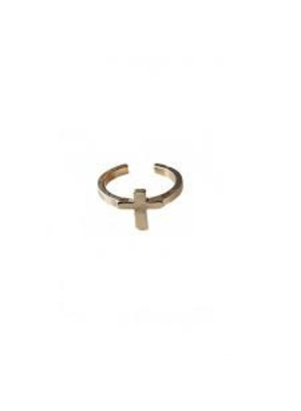 Fashion Mania Ring Open Kruis Goud