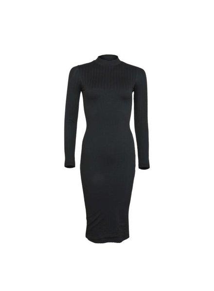 LA SISTERS Midi Long Sleeve Cable Dress Zwart
