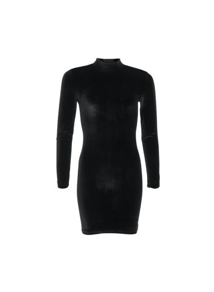 LA SISTERS Velvet Mini Dress zwart