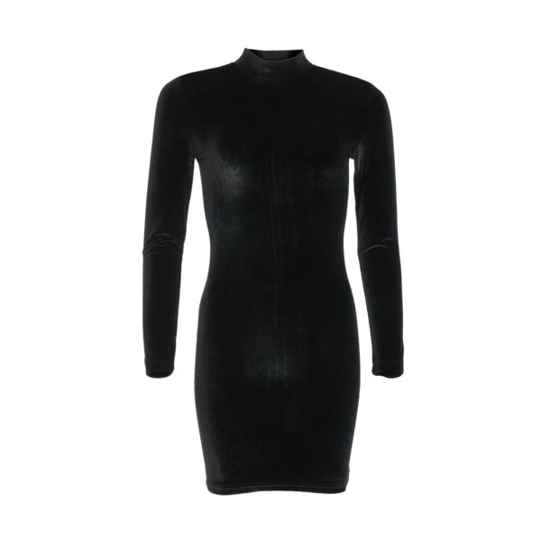 LA SISTERS Velvet Mini Dress zwart