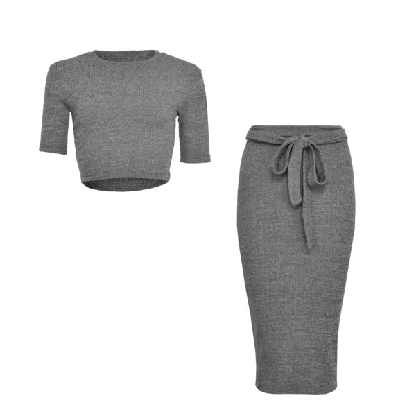 LA SISTERS Belted Ribbed Two Pieces