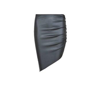 LA SISTERS Leather Asymmetric Skirt Black