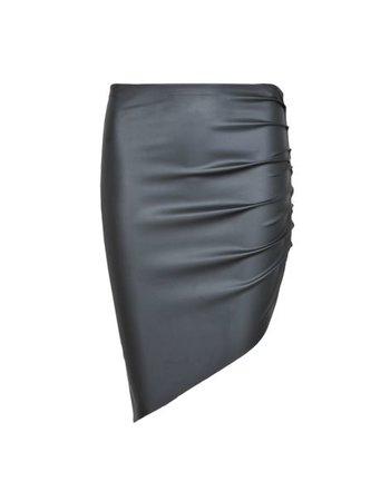 LA SISTERS Leather Asymmetric Skirt Zwart