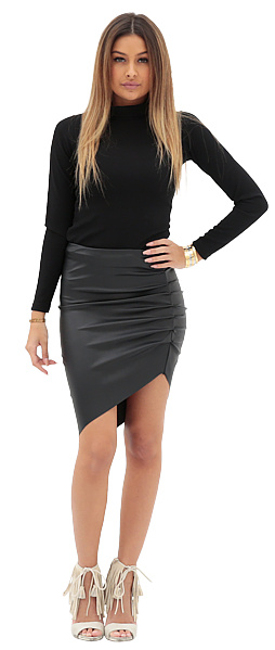 LA SISTERS Leather Asymmetric Skirt Zwart