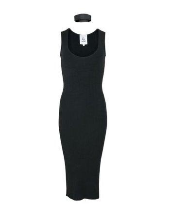 LA SISTERS Ribbed Midi Choker Dress Black
