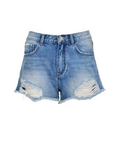 LA SISTERS High Waisted Destroyed Short