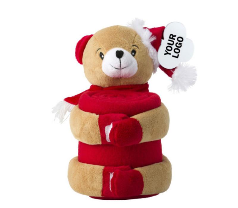 Kerstknuffel beer met fleecedeken