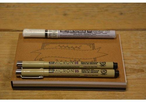 Studio Suikerzoet Oefenblok Handlettering A6 + 3 pennen