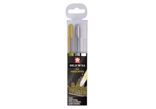 Sakura Set Gelly Rolls Goud-Zilver-Wit