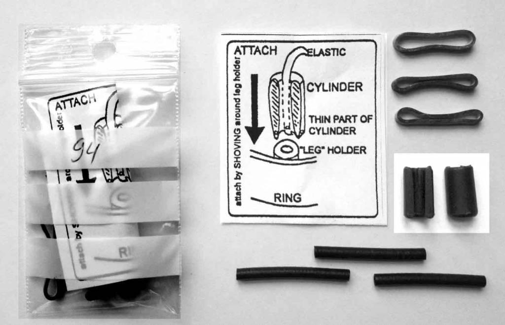 4x feet rubber, 4x elastics, 2x Cylinder