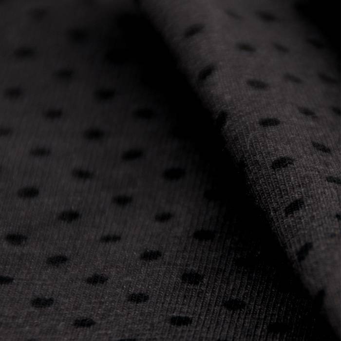 Single jersey stretch 40/1 grey with black dots