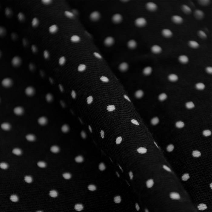 Single jersey stretch - black with white dots