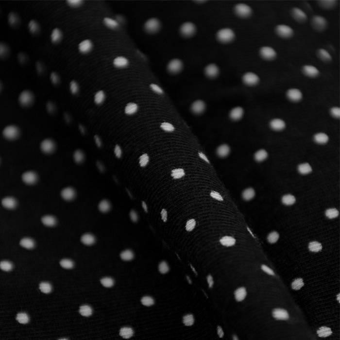 Single Jersey Stretch - schwarz mit weißen Punkten