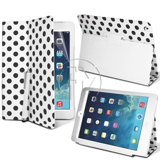 Phonetje iPad air (2) Wit met zwarte stippen hoes met gratis screenprotector