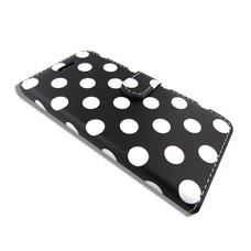 Phonetje iPhone 6 zwart met witte stippen bookcase met gratis screenprotector