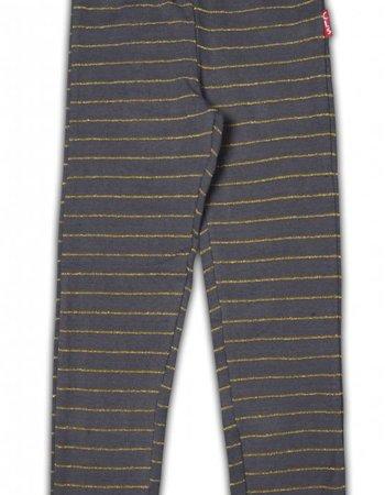 Claesens kinderkleding Legging bruin grijs gestreept met glitters maat 140/146