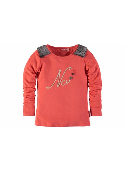 NoNo Shirt hot coral met print
