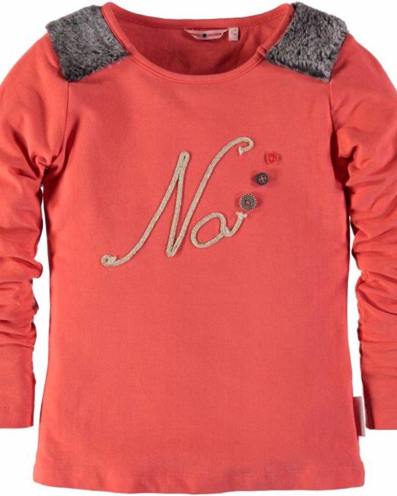 NoNo Shirt hot coral met print