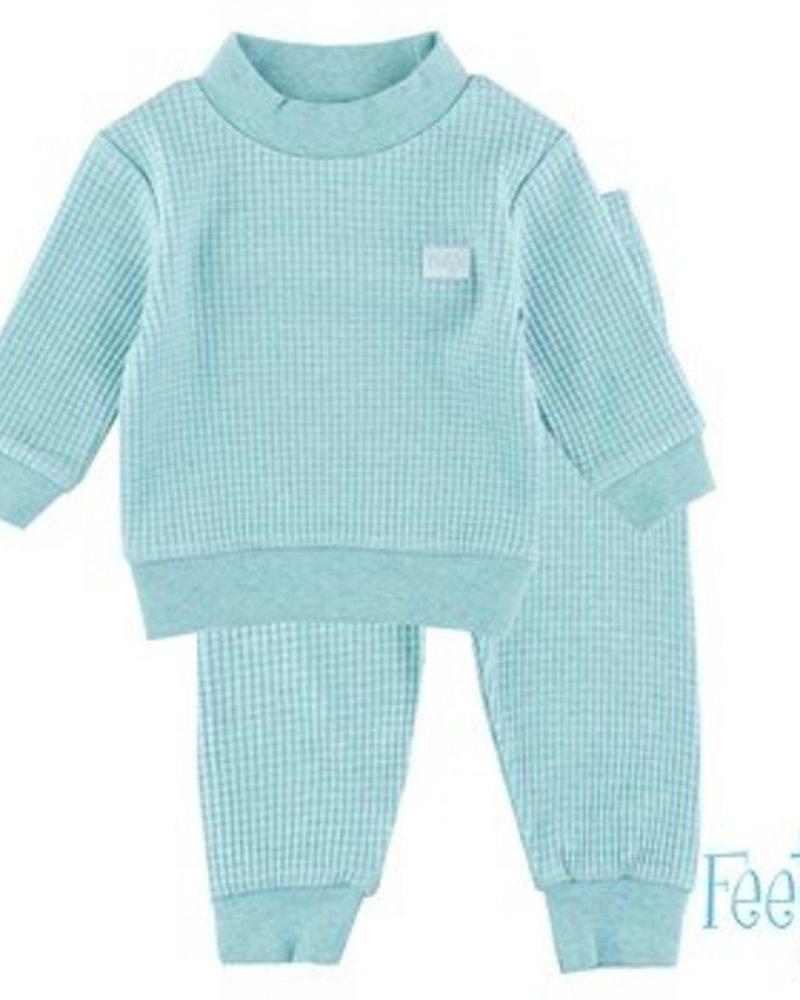 Feetje Feetje pyjama wafel Color: groen melange