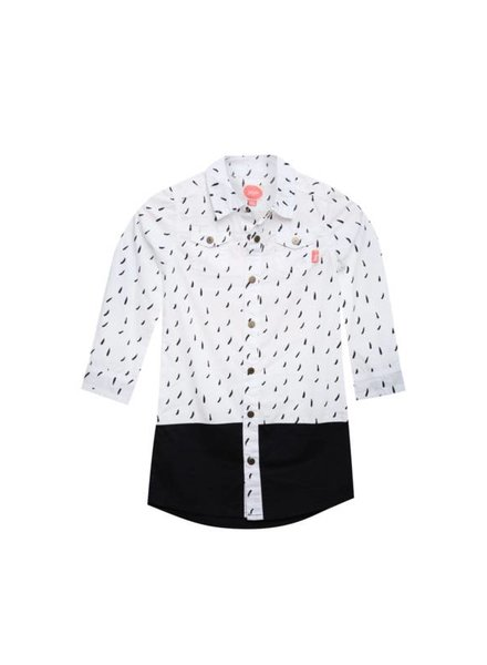 Little Miss Juliette Blouse dress Color: WHT