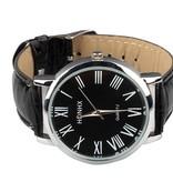 Horloge HOHNX zwart lederen armband