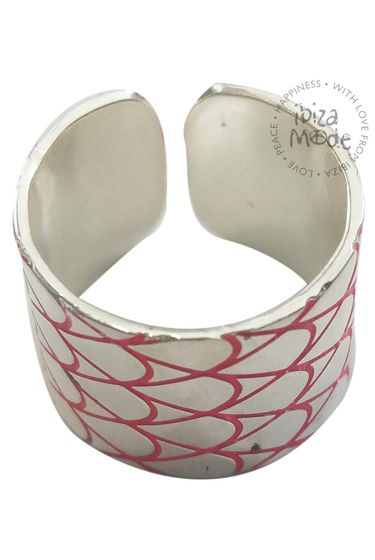 Ring Love Lou life - Silver Plated / Coral Print