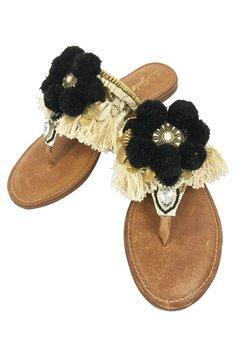 Gado Gado Sandals Shell Pompom - Black