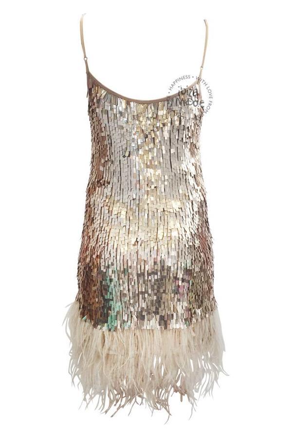 Gado Gado Feather Sequin Dress Gado Gado - Blush