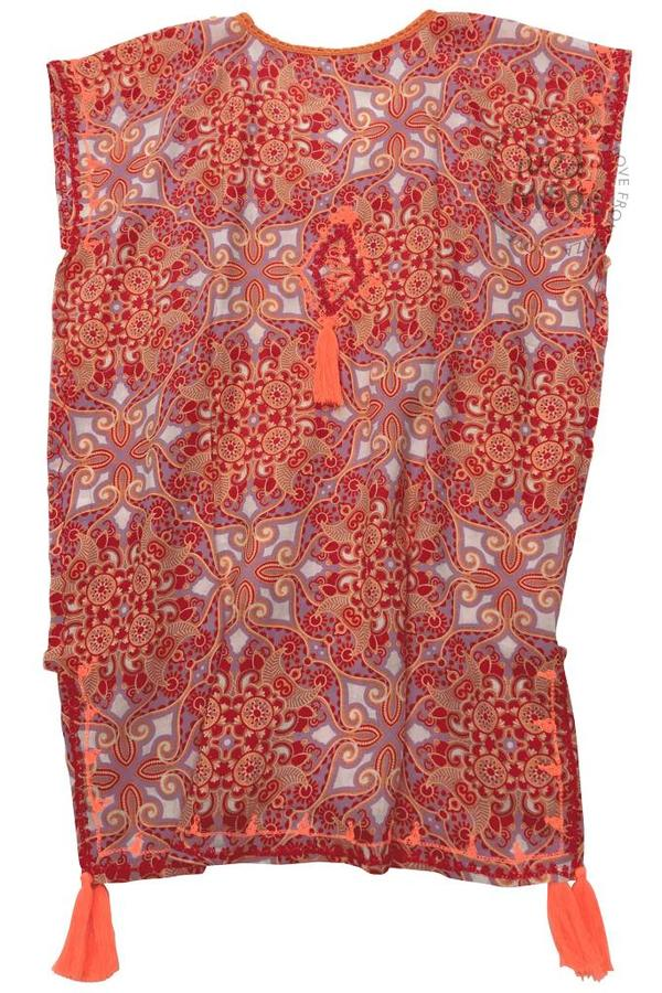 Bali Sensasi Kinder Kleid Ethnique Drucken Bali Sensasi - Neon Coral