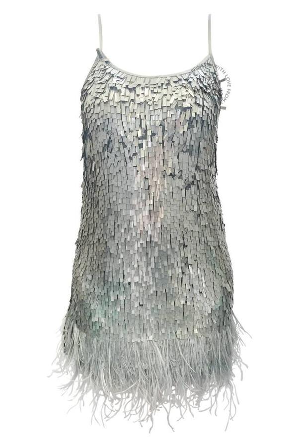 Gado Gado Feder Paillettenkleid Gado Gado - Grau