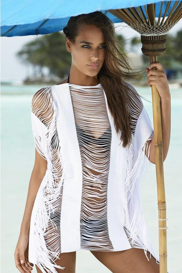 Pilyq Poncho Monique Cover Up Pilyq - White