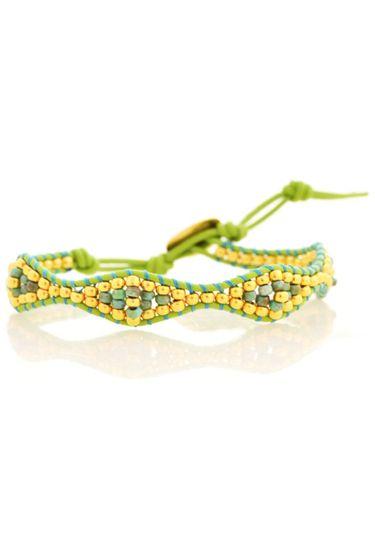 Geflochtenes Armband Beads - Gold / Grün