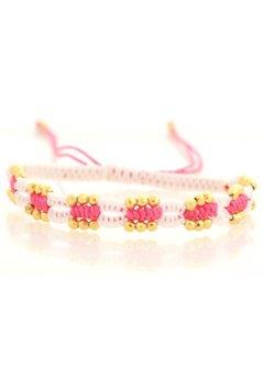 Nizhoni Geflochtenes Armband Beads - Weiß / Pink