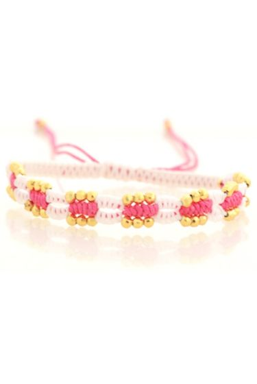 Bracelet Braided Beads - White/Pink