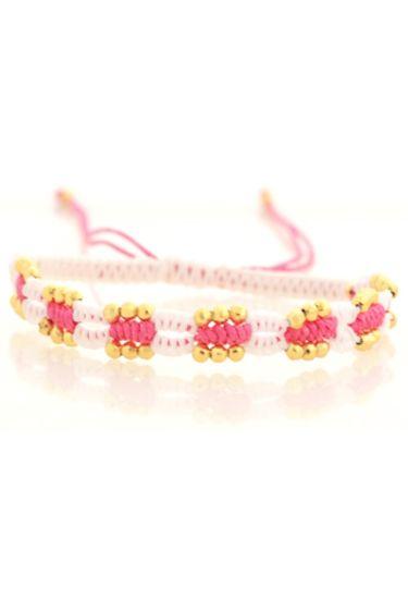 Geflochtenes Armband Beads - Weiß / Pink