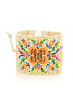 Nizhoni Bracelet Flower Beads - Ecru/Multi