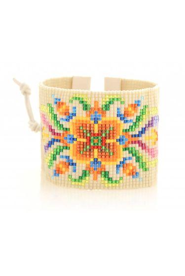 Flower Beads Bracelet - Ecru / Multi
