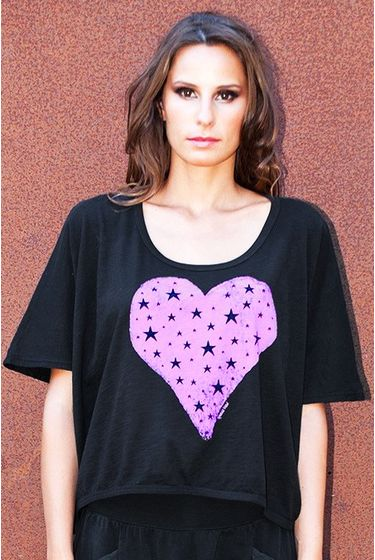 Short Top Square Heart of Stars - Black