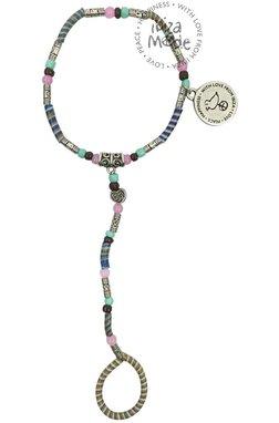 Peacebird Flip-Flop-Hand-Armband - Camel / Mint / Pink