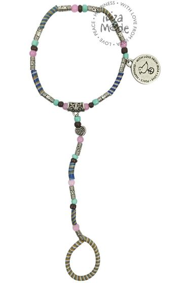 Flip-Flop-Hand-Armband - Camel / Mint / Pink