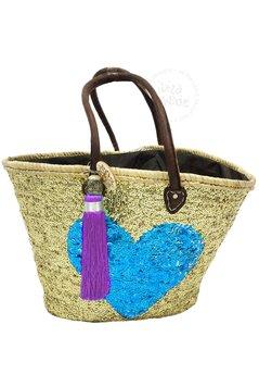 Ibiza Beachbag Herz - Gold / Blau