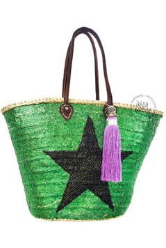 Ibiza Beachbag Star - Dark Green/Black