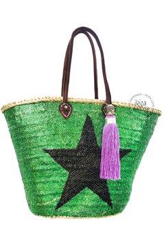 Ibiza Beachbag Star - Dunkelgrün / Schwarz